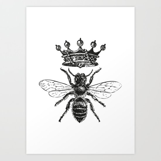Queen Bee | Vintage Bee with Crown | Black and White | by eclecticatheart
