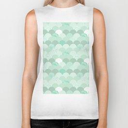 Geometrical mint green white elegant scallop pattern Biker Tank