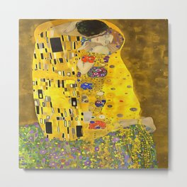 The Lovers Kiss After Klimt Metal Print