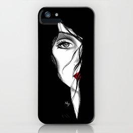 Rostro mujer arte medio rostro pelo negro piel blanca labios rojos. joik iPhone Case