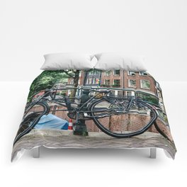 Bicycles in Amsterdam Comforters