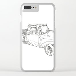 Vintage Pickup Truck Doodle Art Clear iPhone Case