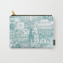 Edinburgh toile teal white Carry-All Pouch
