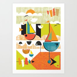 Atomic Mid Century Modern Boats Placement Print 2 Art Print