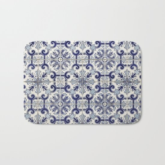 Portuguese tiles pattern blue Bath Mat