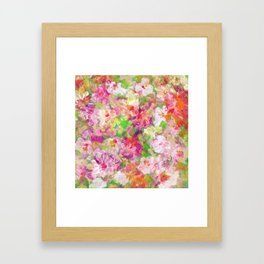 Colorful Watercolors Flowers Collage Framed Art Print