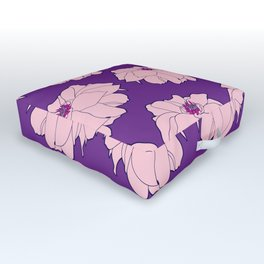 Pink Dahlia Flower Illustrated Print Outdoor Floor Cushion