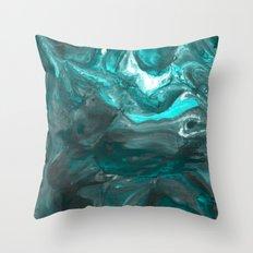 Dark Clouds Gathering - Teal & Grey Marbling Throw Pillow