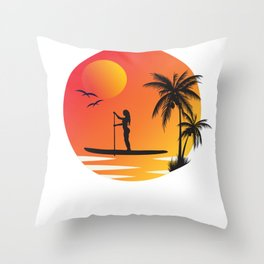 Stand Up Paddling Sunset Under Palm Trees Throw Pillow