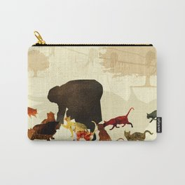 Woman feeding cats Carry-All Pouch