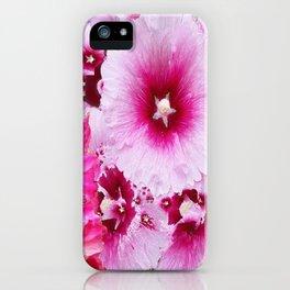 DECORATIVE FUCHSIA-PINK HOLLYHOCK  PATTERNS GARDEN ART iPhone Case