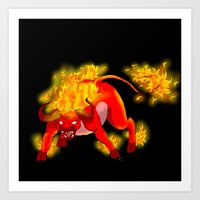 Firey Bull Art Print