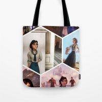bioshock Tote Bags featuring Elizabeth Bioshock  by Yizhen Dong