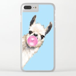 Bubble Gum Sneaky Llama in Blue Clear iPhone Case