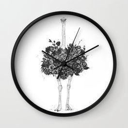 Floral ostrich Wall Clock