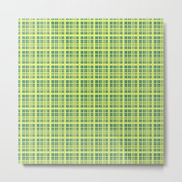 Yellow Green Check Metal Print