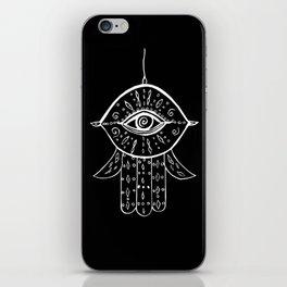 Hamsa Hand White on Black #1 #drawing #decor #art #society6 iPhone Skin
