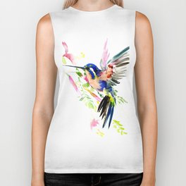 Hummingbird, bird, flying bird design decor blue peach colors Biker Tank