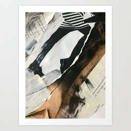 Stay | Collage Series 2 | mixed-media piece in gold, black and white + book pages Art Print