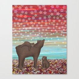 brown bears and stars Canvas Print