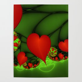 Dancing Red Hearts Fractal Art Poster