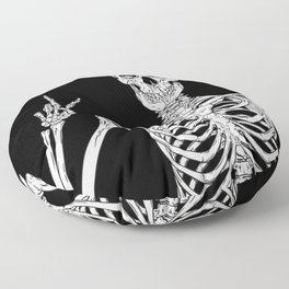 Human skeleton posing isolated over black background vector illustration Floor Pillow