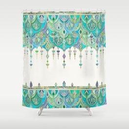 Art Deco Double Drop in Jade and Aquamarine on Cream Shower Curtain