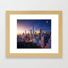 New York City - Fantasy Sunset Framed Art Print