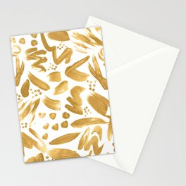 Modern abstract gold strokes paint Stationery Cards