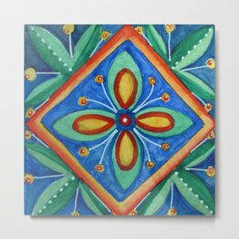 Watercolor Mexican Abstract Floral Art - Tile 5475 Metal Print