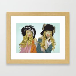 red lip twins Framed Art Print