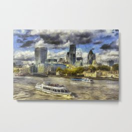 The River Thames And City Art Metal Print