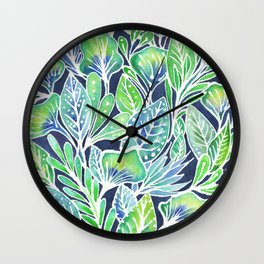 Masked Flora Collection Leaves Wall Clock
