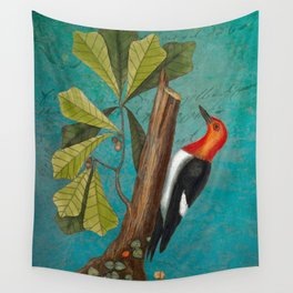 Red Headed Woodpecker with Oak, Natural History and Botanical collage Wall Tapestry