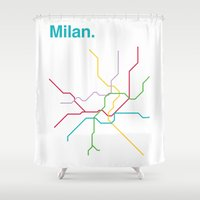 milan Shower Curtains featuring Milan Transit Map by Ariel Wilson