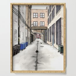 Alley in Ravenswood, Chicago Serving Tray