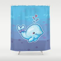 polkadot Shower Curtains featuring PolkaDot Whale by Byte Size Treasure