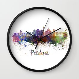 Padua skyline in watercolor Wall Clock