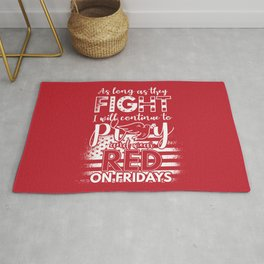 Pray Wear Red Friday Christian Military Rug