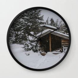 Winter at Lonesome Lake Hut Wall Clock