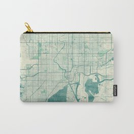 Tampa Map Blue Vintage Carry-All Pouch