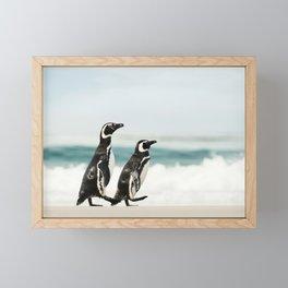 Two Magellanic penguins on a sandy beach Framed Mini Art Print
