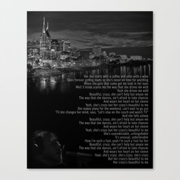 Beautiful Crazy | Luke Combs Inspired Lyric Art Print, Song Poster, Nashville Poster, Nashville Skyl Canvas Print