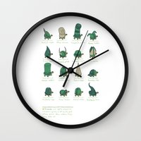 study Wall Clocks featuring A Study of Turtles by Hector Mansilla