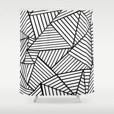 Abstraction Lines Close Up Black and White Shower Curtain