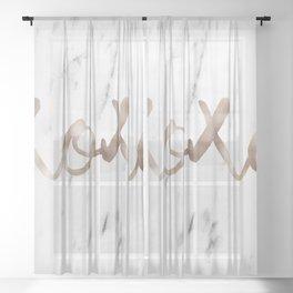 Rose gold marble XOXO Sheer Curtain