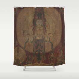 Eleven-Headed, Thousand-Armed Bodhisattva of Compassion 16th Century Classical Tibetan Buddhist Art Shower Curtain