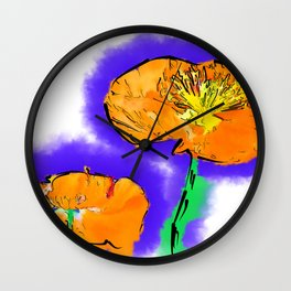 The Orange Poppy Pair Wall Clock