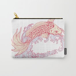 Nishikigoi Koi Jumping Waves Drawing Carry-All Pouch