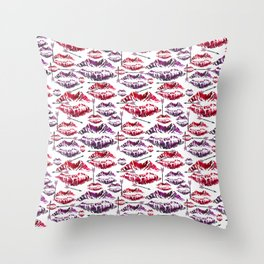 Valentine Kisses and Misses Throw Pillow